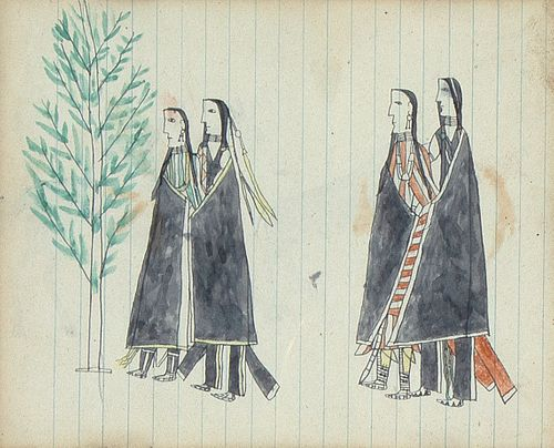 Plains, Double-Sided Ledger Drawing, ca. 1880-1900