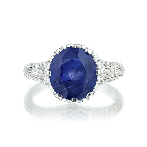 Kashmir Unheated Sapphire and Diamond Ring