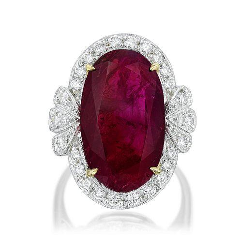 12.50-Carat Unheated Ruby and Diamond Ring