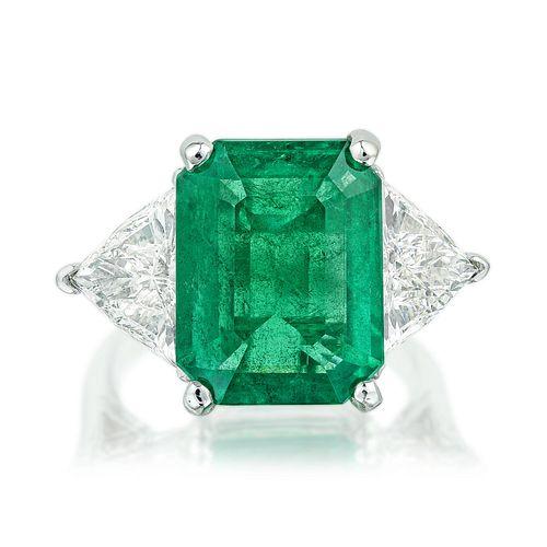 6.75-Carat Emerald and Diamond Ring