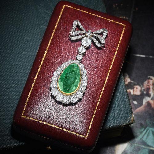Antique Emerald and Diamond Bow Pendant