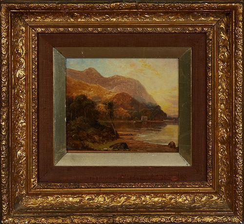 """R. Moore (Probably Rubens Arthur Moore, 1881-1920), """"Lake Scene,"""" 19th c., oil on panel, signed lower left, presented in a period gilt and gesso frame"""