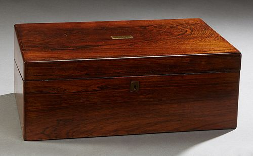 English Carved Rosewood Lap Desk, 19th c., the brass plate inset lid opening to an interior with a gilt tooled leather writing surface, over stationer