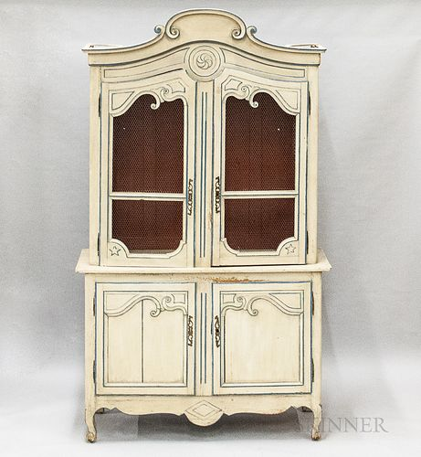 French Provincial Painted Buffet a Deux Corps