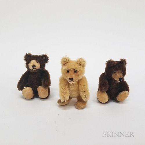"""Three Steiff Tiny Mohair """"Teddy Babies,"""""""