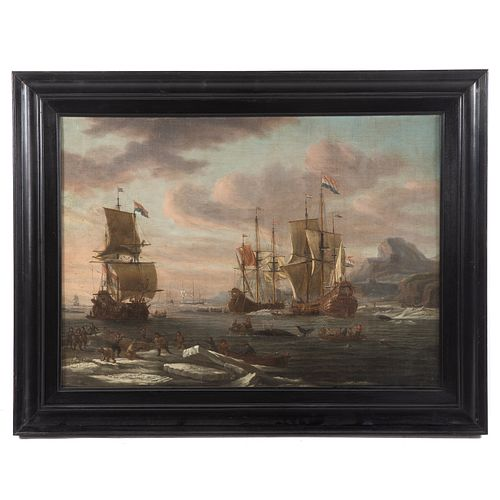 """After Abraham Storck. """"Whaling Grounds...,"""" oil"""