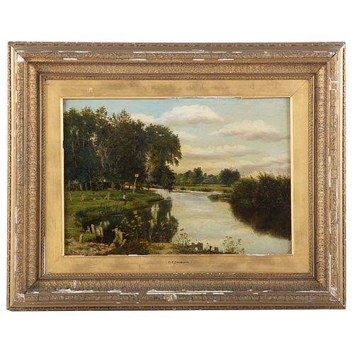 Charles Francois Daubigny. View by the Seine, oil