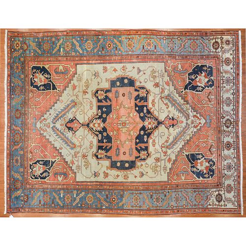 Rare Antique Serapi Carpet, Persia, 10.4 x 13.1