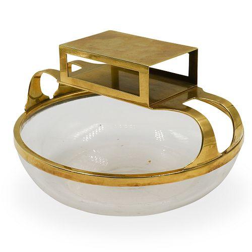 Deco Tiffany & Co 18kt Gold & Crystal Ashtray