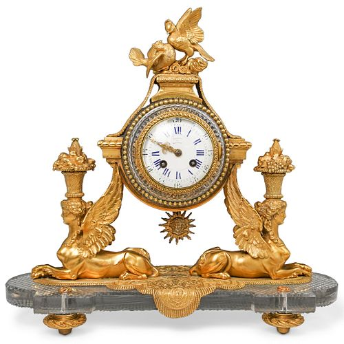 19th Cent Baccarat Crystal and Ormolu Mantel Clock