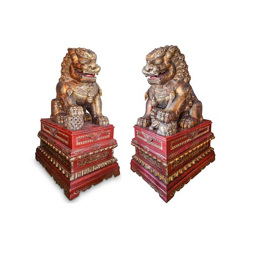 Pair Of Monumental Chinese Carved Wooden Foo Dogs