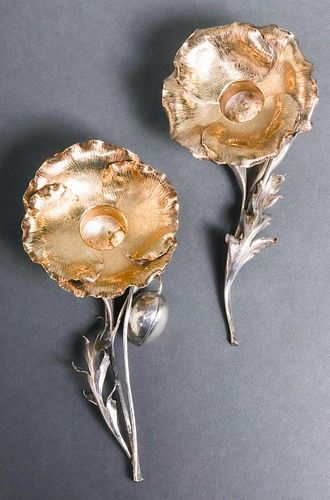 """Buccellati Silver """"Poppy"""" Candle Holders, Pair"""