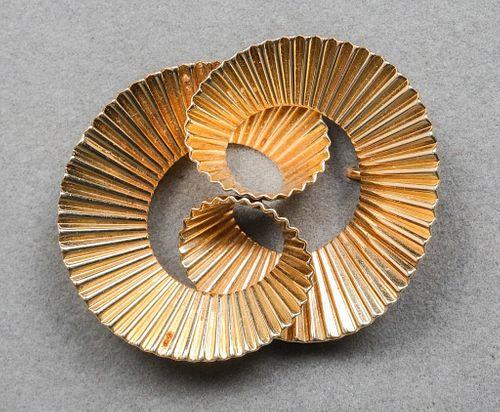 Tiffany & Co. 14K Mid-Century Swirl Pin Brooch