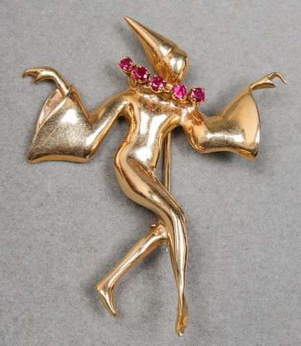 Vintage 14K Yellow Gold & Ruby Jester Brooch