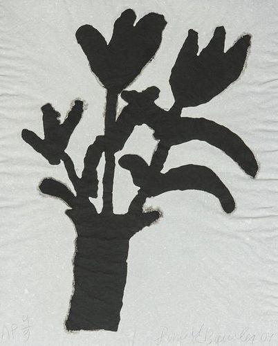 "Donald Baechler ""Flower Vase"" Ink on Paper Print"