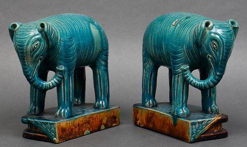 Chinese Turquoise Glazed Earthenware Elephants, Pr