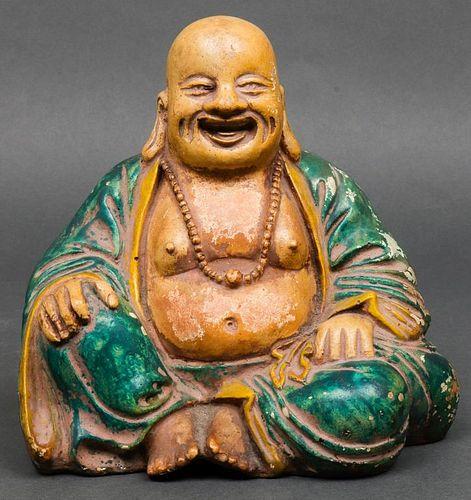 Chinese Glazed Earthenware Seated Buddha