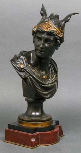 French Neoclassical Style Bronze Bust of Mercury