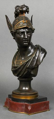 French Neoclassical Style Bronze Bust of Minerva