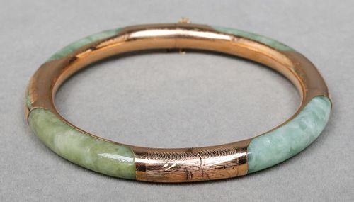 Vintage 14K Yellow Gold Jade Bangle Bracelet