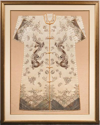 Chinese Dragon Embroidered Silk Robe, c. 1920