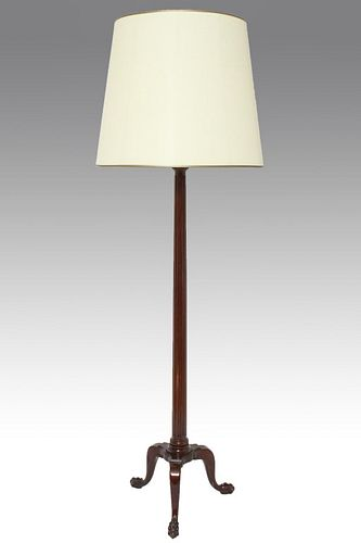Carved Mahogany Floor Lamp w Claw Foot Base