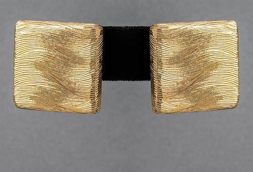 Mid-Century Modern 18K Yellow Gold Square Earrings