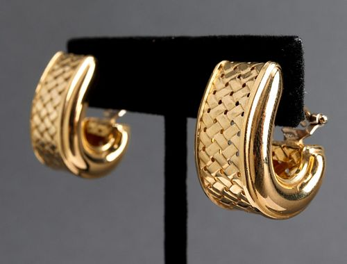 Italian 18K Yellow Gold Woven Textured Earrings