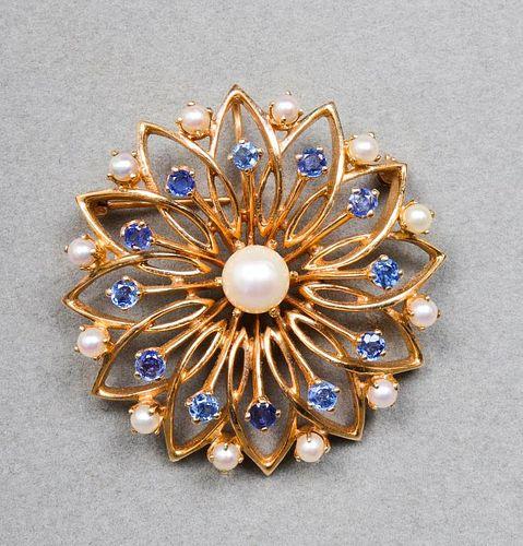 14K Yellow Gold Sapphire & Pearl Brooch / Pendant