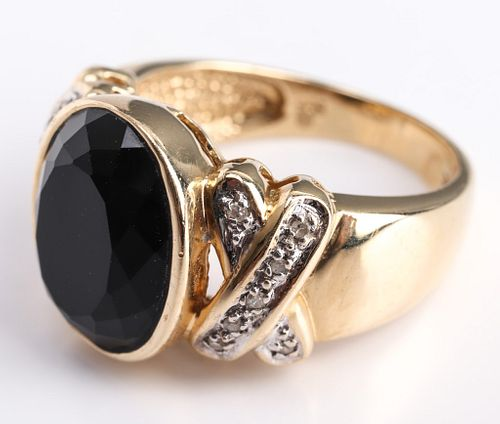 14K Yellow Gold, Onyx, & Diamond Ring