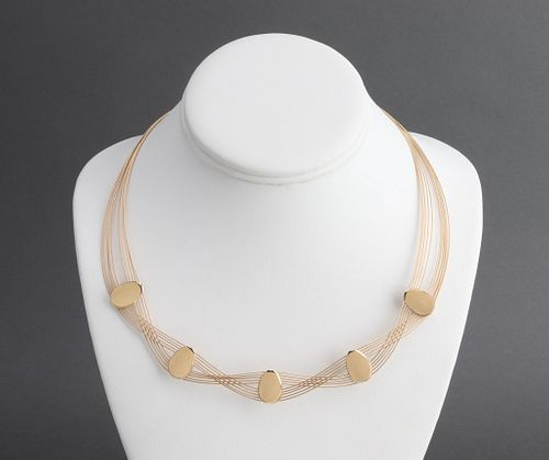 14K Yellow Gold Wire Necklace