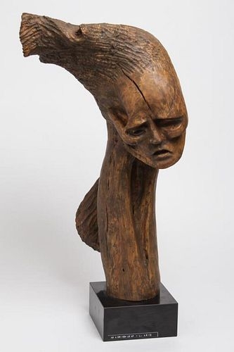 """L. Arye """"As a Driven Leaf"""" Carved Wood Sculpture"""