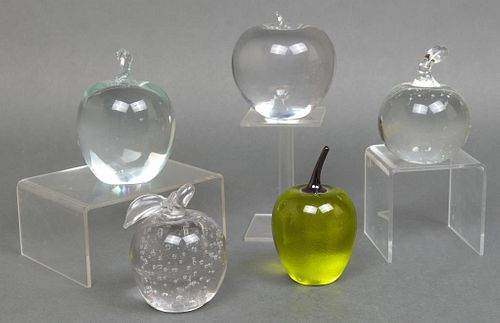 Assorted Crystal & Art Glass Apple Paperweights, 5
