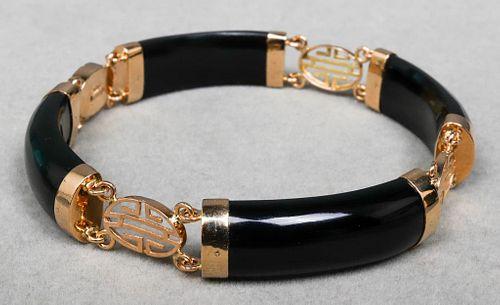 Gump's 14K Yellow Gold & Black Onyx Bracelet