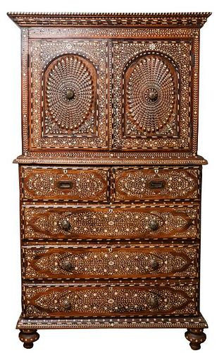 Anglo-Indian Bone Inlaid Chest on Chest, Antique