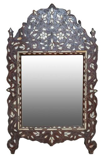 Anglo-Indian Shell Inlaid Framed Mirror, Antique