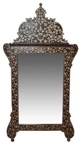 Anglo-Indian Large Shell Inlaid Mirror, Antique