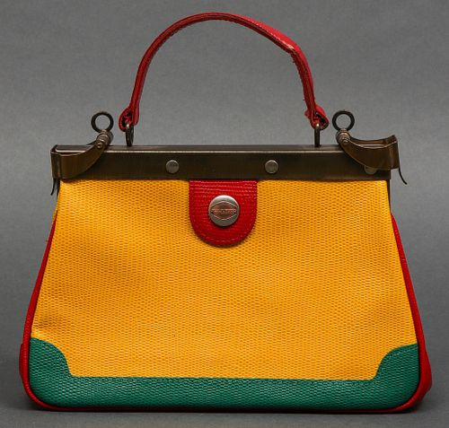 M.J. Knoud Color Block Lizard Handbag