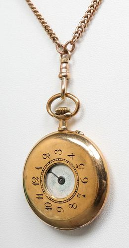 18K Gold Ladies Pocket Watch with 10K Necklace