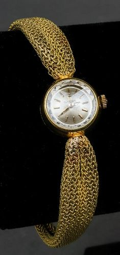 Omega 18K Yellow Gold Mesh Ladies Watch, Vintage