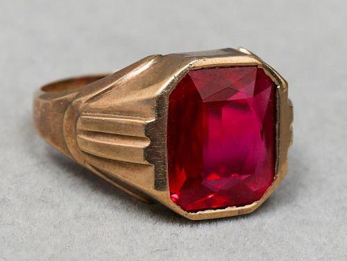 Art Deco 10K Yellow Gold Synthetic Ruby Ring