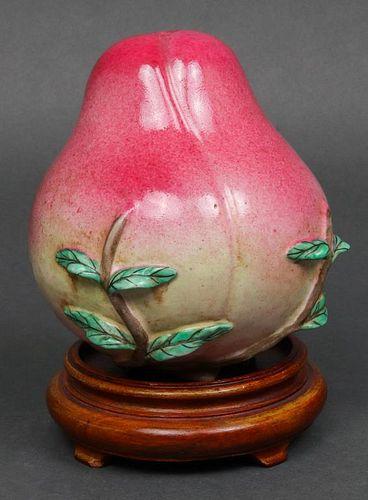 Chinese Ceramic Peach Altar Fruit