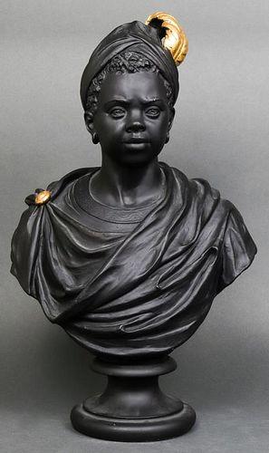 Ebonized Plaster Blackamoor Bust of a Woman