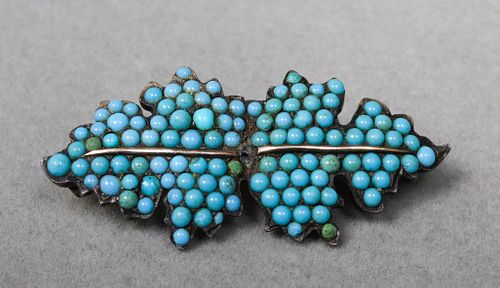 Victorian 14K Rose Gold & Silver Turquoise Brooch