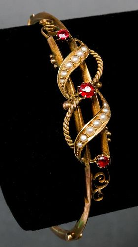 Victorian 10K Gold, Garnet & Pearl Bangle Bracelet