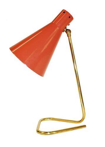 Stilnovo Style Italian Enamel & Brass Desk Lamp