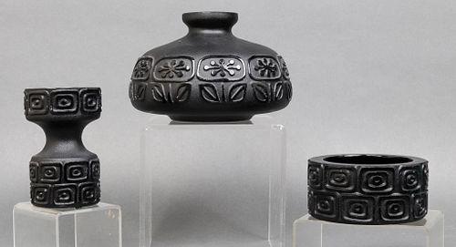 Mid-Century Modern Black Glass Vases & Bowl, 3