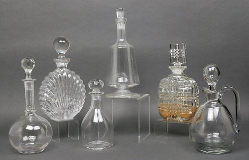 Crystal & Glass Decanters, Group of 6