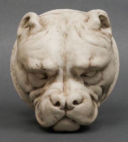 English Bulldog Head Plaster Wall Mount
