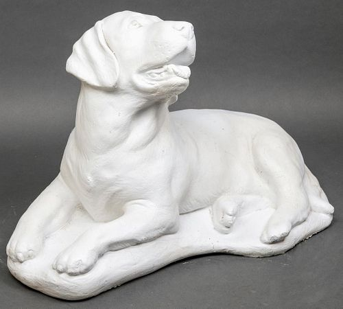 Painted Cement Sculpture of a Seated Dog